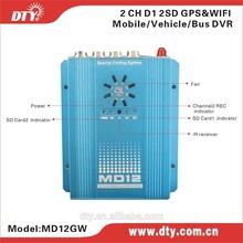 DTY MD12W 2 ch dual sd card cctv dvr built-in Turkish language menu
