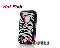 Silicone+Pc Hybrid Impact Heavy Duty Zebra Rugged Cover Case for iphone 4 4s 4g