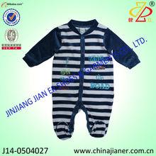 2015 new arrival design velour fabric stripe boy baby romper winter