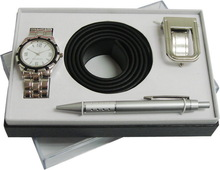 fashion novelty men's watch gift set pen and belt gift set