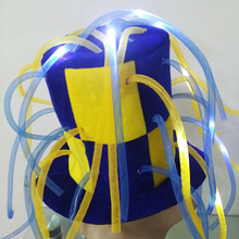 2015 Carnival Bule yellow LED flashing crazy party top hat with tubes MHH127
