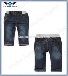 Stylish turn up stretch kids denim pants,baby boys jeans pants