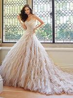Glamorous organza layered hot pink and white wedding dress
