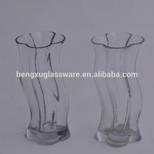 wavy clear glass vase,wave glassware wholesale cheap,plum blossom glass jar