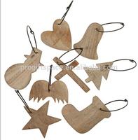 2015 new hot sales handmade craft wholesale gift star/snowman/cross/tree/sock/heart/bell ornament wooden Christmas decorations