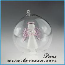 2014 fabbrica diretta fornitura a buon mercato fai da te su misura prezzo mini ornamenti di natale di vetro angelo dentro