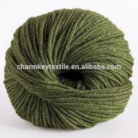 2014 Hot Sale fancy merino wool blended silk ball yarn with rich avocado green color