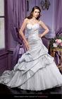 Taffeta A-line Sweetheart Strapless Sleeveless Floor-length Chapel Train Silver Grey Wedding Dresses