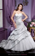 Taffeta A-line Sweetheart Strapless Sleeveless Floor-length Chapel Train Silver Grey Wedding Dresses