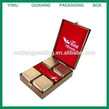 "Wooden Box ""Tea Secrets"" 4 Tins x 1.77 oz.ea.inc.Tea Spoon - Makes An Ideal Gift"