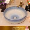 Gradual Change Sky Blue Color Smooth Art Ceramic Kitchen Sink