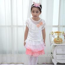 2014 Fashion Hot Sale children clothing lace neck t-shirt