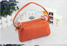 2014 Women's Tri Zippers Cheap PU Leather Beauty Tool Bags For Phone Money Beauty Coin Pouch