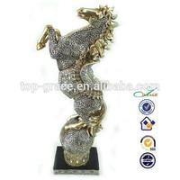 Golden lucky for money horse resin trophy