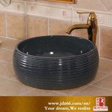 Jingdezhen Modern Smooth Black Glazed Ceramic Bathroom Sink