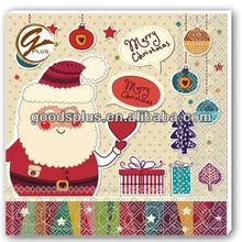 3 Serviettes en Papier/Paper Napkins/Servietten/Pere Noel/Hotte/Cadeaux/Santa