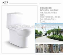 Gravity flush single piece dual flush ceramic WC closet damping seat cover