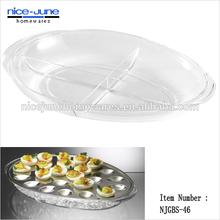 Best quality Oval Shape Stainless Steel Iced 2pc Egg Platter Set
