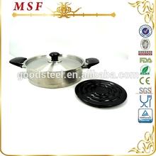 MSF-3049 18 10 stainless steel cookware diamond coated frying pan with heat resistant bakelite mat