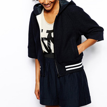 Banded ribbed hem wide-cut sleeves womens varsity jacket