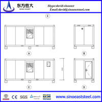 Promotion Price!!! sandwich panel two bedroom prefab container living house with window manufacturer