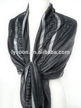 Grey Scarf Metallic Shawl. Black Pashmina. Fringed Winter Scarf Meander PatternSparkling Silver Stripes27x68in (70x170cm)