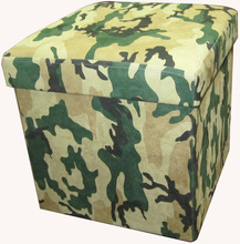 Colorful Printing Suede Folding Storage Ottoman