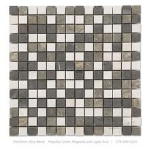 White and Olive Blend 20mm * 20mm Square Non-slip Restaurant and Garden Mosaic Floor Tile