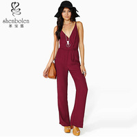 Summer v-neck backless chiffon sexy jumpsuit for women 2014 China OEM suppier