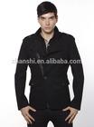 Day Jacket Black Wool Cashmere Patchwork Textured Sport coat Slim Fit