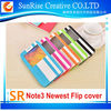 Hottest Custom flip s-view window pu leather stand case cover for Note 3 N900