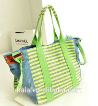 D3 New women handbag Striped jean bag canvas shoulder bag
