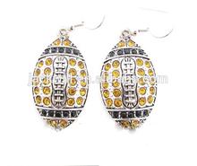 Hot selling long colorful crystal football dangle earrings ,rugby charm drop earrings