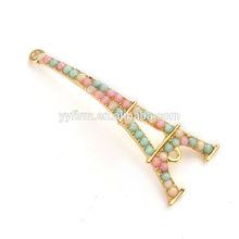 .L0617025 49x19mm tower shape rhinestones paved metal bracelet connectors.Wholesale diy jewelry alloy connectors.