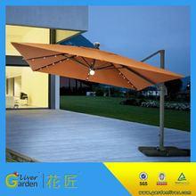 UV protective patio waterproof crank umbrella solar led garden sun umbrella