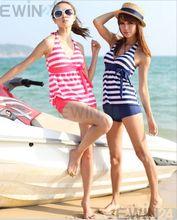 Hot Sale Stripe Swim Split Swimsuit Dress Bathing Suit Swimwear 2 Piece Beach Wear