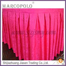 Cheap beatiful table skirt, popular table skirt for wedding, new design hotel table skirt
