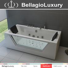 Hydromassage bathtub, Glass window whirlpool, hammered copper bathtub