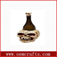 Crazy skull antique decorative resin wine bottle holder