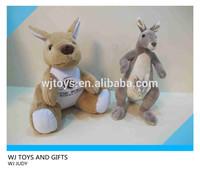 hot selling lovely gray kangaroo plush wild animal