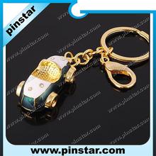 Fashion design jewelry charmming pendant keyring key holder gold luxury car keychain with rhinestone
