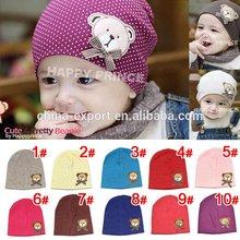 10 colors available dot design cotton baby beanie bear caps hat001