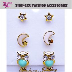 latest ladies fashion and beautiful custom owl star and moon earrings set