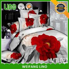 3d reactive printed bedding set,big red rose,wedding bed set
