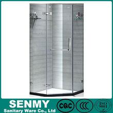 Guangdong Manufacture glass shelf frameless diamond or hexagon shape 3 sides panel or glass sex massage shower cabin