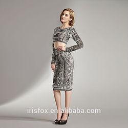 two piece set long sleeve leopard printed ladies suit design