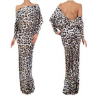 polyester spandex reversible plunging Off Shoulder Party evening convertible maxi leopard multi way dress