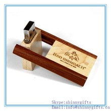 Shinny Gifts Swivel wood cheap novelty usb flash drives for business gifts SI-FDW00024