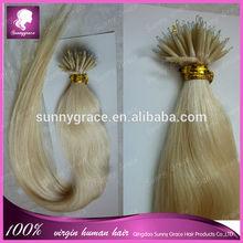 100strands one pack 100% Human Keratin Nano Ring Hair Extension /0.8g/strand Pre-boned Micro Ring Hair Extension