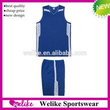 Blue new style basketball jersey sets design for man high quality basketball team wear cheap wholesale basketball sportswear